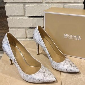 Michael Kors white and silver leather pumps
